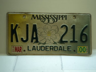 2000 MISSISSIPPI Magnolia License Plate KJA 216
