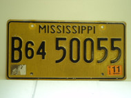 2011 MISSISSIPPI License Plate B64 50055