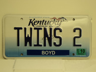 2012 KENTUCKY Unbridled Spirit VANITY License Plate TWINS 2