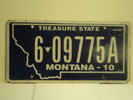2010 MONTANA Treasure State License Plate 6 09975A