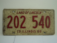 1966 ILLINOIS Land of Lincoln License Plate 202 540 1