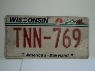 WISCONSIN America's Dairyland License Plate TNN 769