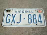1981 VIRGINIA License Plate GXJ 884