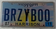 2011 July Mississippi Vanity License Plate BRZYBOO