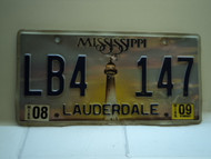 2009 MISSISSIPPI Magnolia License Plate LB4 147
