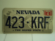 2001 NEVADA Silver State License Plate 423 KRF