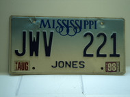 1998 MISSISSIPPI Blue Fade License Plate JWV 221