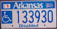 Arkansas Wheelchair 2003 License Plate 1