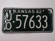 1962 KANSAS License Plate JO 57633