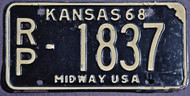 1968 Republic Co Kansas RP-1837 Midway License Plate