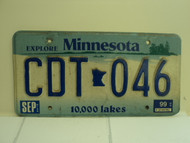 1999 MINNESOTA Explore 10,000 Lakes License Plate CDT 046