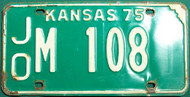 1975 JO M Kansas License Plate 108