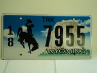 WYOMING Bucking Bronco Devils Tower Truck License Plate 18 7955