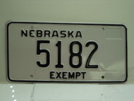 NEBRASKA EXEMPT License Plate 5182