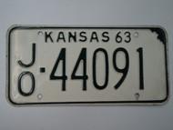 1963 KANSAS License Plate JO 44091