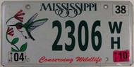2010 Mississippi Wildlife License Plate 2306 WH
