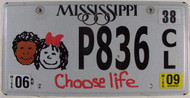 2009 Mississippi Choose Life P836 License Plate