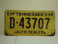 1994 TENNESSEE License Plate D 43707