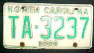 1990 North Carolina TA-3237 TAXI License Plate