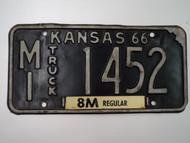 1966 KANSAS 8M Truck License Plate MI 1452