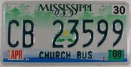 2008 Apr Mississippi Church Bus License Plate