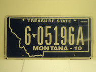 2010 MONTANA Treasure State License Plate 6 05196A