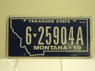 2010 MONTANA Treasure State License Plate 6 25904A
