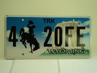 WYOMING Bucking Bronco Devils Tower Truck License Plate 4 20FE 1
