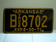 1971 ARKANSAS NOS Truck License Plate B 8702