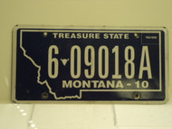 2010 MONTANA Treasure State License Plate 6 09018A
