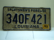 1995 LOUISIANA Sportsmans Paradise License Plate 340F421