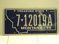 2010 MONTANA Treasure State License Plate 7 12019A
