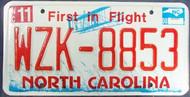 2008 Nov North Carolina License Plate WZK-8853