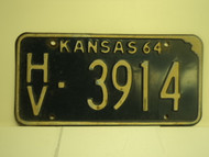 1964 KANSAS License Plate HV 3914