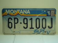 2000 MONTANA Big Sky License Plate 6P 9100J