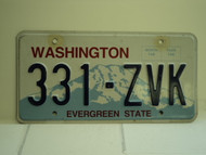 WASHINGTON Evergreen State License Plate 331 ZVK