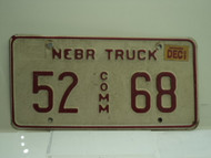 2002 NEBRASKA Commercial Truck License Plate 52 68 1