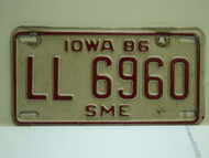 1986 IOWA Trailer License Plate LL 6960 sme