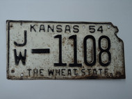 1954 KANSAS State Shaped License Plate JW 1108