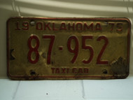 1975 OKLAHOMA Taxi Cab License Plate 87 952