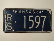 1964 KANSAS License Plate RS 1597