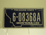 2010 MONTANA Treasure State License Plate 6 08368A