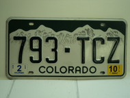 2010 COLORADO License Plate 793 TCZ