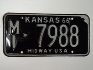 1966 KANSAS Midway USA License Plate MI 7998