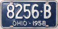 1958 Ohio 8256-B License Plate