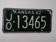 1962 KANSAS License Plate JO 13465