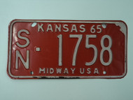 1965 KANSAS Midway USA License Plate SN 1758
