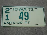 1972 IOWA Truck Tractor License Plate TT 21 49