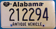 Alabama Antique Vehicle License Plate  212294 HOD