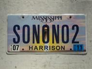 2011 MISSISSIPI Vanity License Plate SONONO2